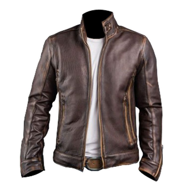 Mens Cafe Racer Stylish Biker Brown Distressed Leather Jacket   Clothing, Shoes & Accessories, Men's Clothing, Coats & Jackets   eBay!