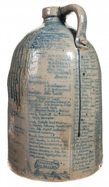 Late 1800's ~ Anna Pottery Stoneware Jug completed covered in Writing .... These Unique Pieces of Pottery were the 'Messengers' of their Opinions on Politics, Corrupt Tax Revenuers, the Temperance Movement & many other Socially Engaging Topics ....  Glug.