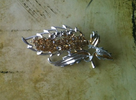 Silver Brooch with Amber Rhinestones by RetroJunction on Etsy, $20.00