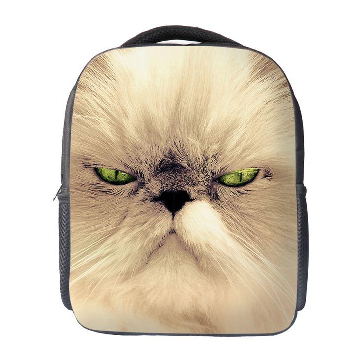 Angry Cat Kids School Bag