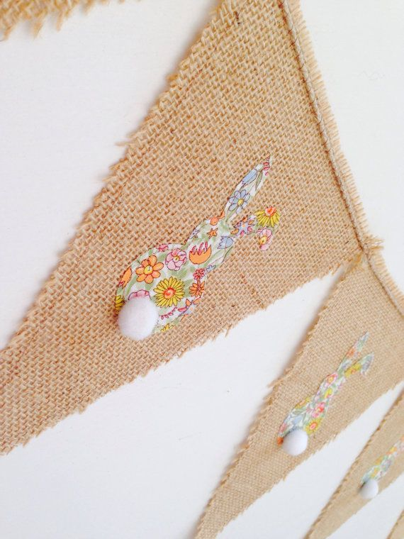 Bunny bunting on hessian burlap bunting by onepear on Etsy