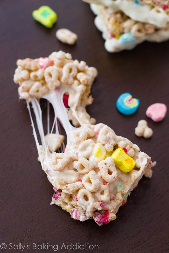 Super gooey, super marshmallow-y, super EASY White Chocolate Lucky Charms Treats!