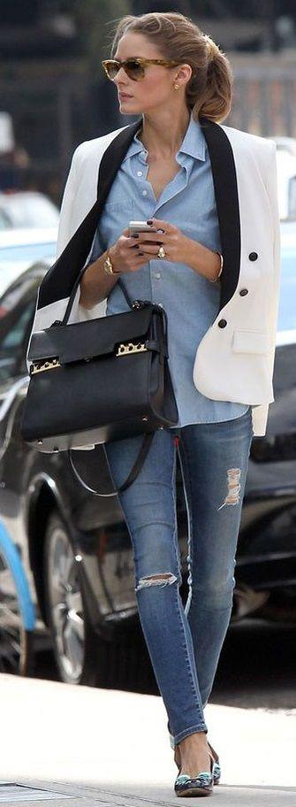 Olivia Palermo. Skinny jeans. Blazer. Loafers. Smart casual.