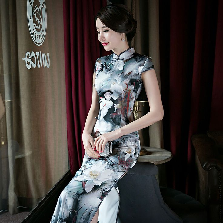 New Arrival Fashion Chinese Style Mandarin Collar Dress Women's Silk Long Cheongsam Elegant Slim Qipao Size S M L XL XXL F060106