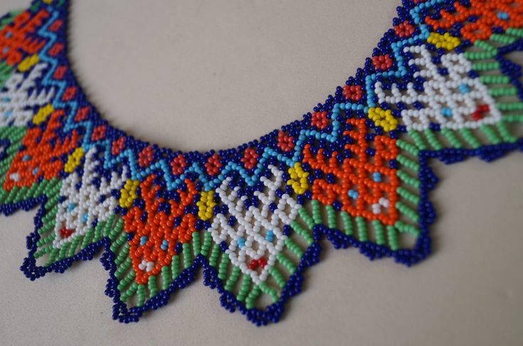 Huichol Necklace Beaded Multicolor Mexican Folk Art Mexico Hippy New Culture | eBay