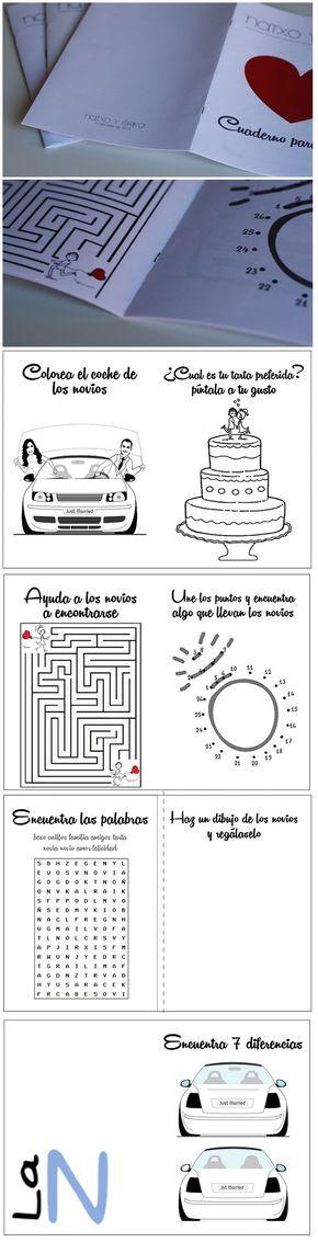 Cuadernillo de actividades para entretener a los niños en las bodas. Mira cómo hacerlo en: http://laneuronadelmanitas.blogspot.com.es/2015/07/detalles-de-boda-cuaderno-de.html