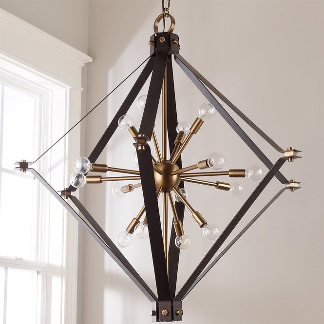 """Handcrafted by artisans in the U.S. this diamond cage surrounds a sputnik-style 11 light chandelier. Hanging height - up to 100"""". (28""""Hx27""""W). 11x60 watts candle base sockets. G16.5 bulbs recommended. **This item is made to order in the U.S.A. Please allow 30-60 days delivery time."""