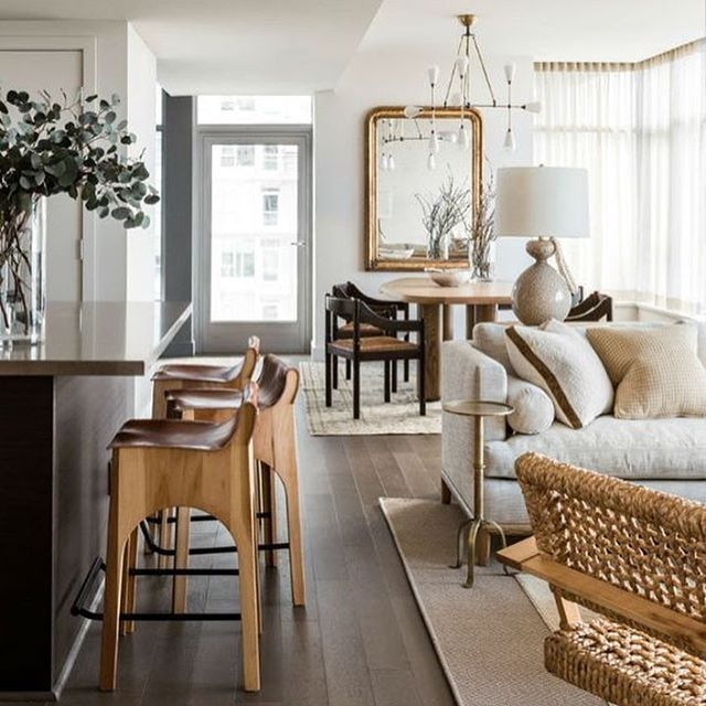 Living/dining space with neutral palette full of rich texture #idfstudio
