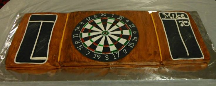 A dartboard cake for a friend's dad's 70th