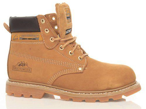 Footwear Sensation – Chaussures Bottines de Sécurité Hommes Bout Acier Fermeture Lacets Neuf – 43, Miel