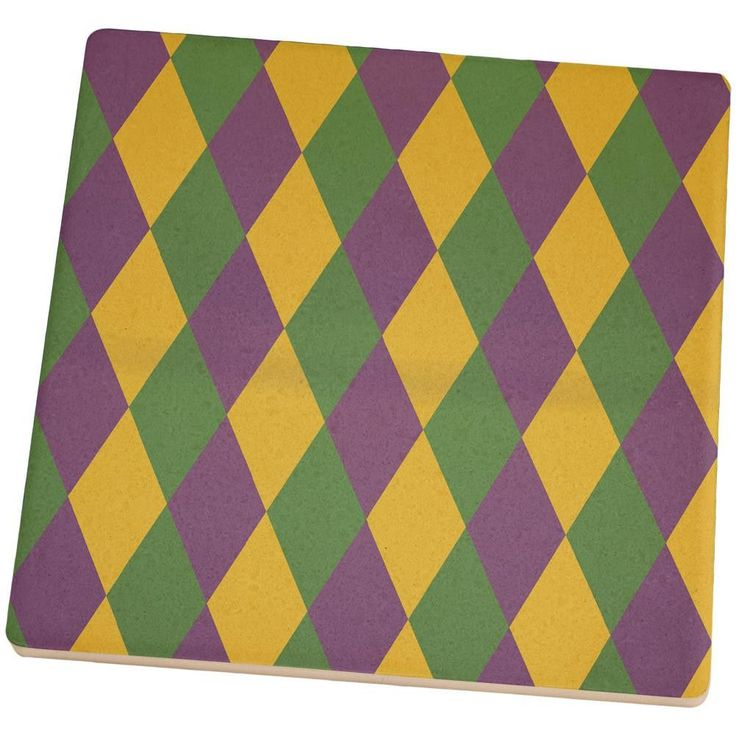 Mardi Gras Party Jester Set of 4 Square Sandstone Coasters