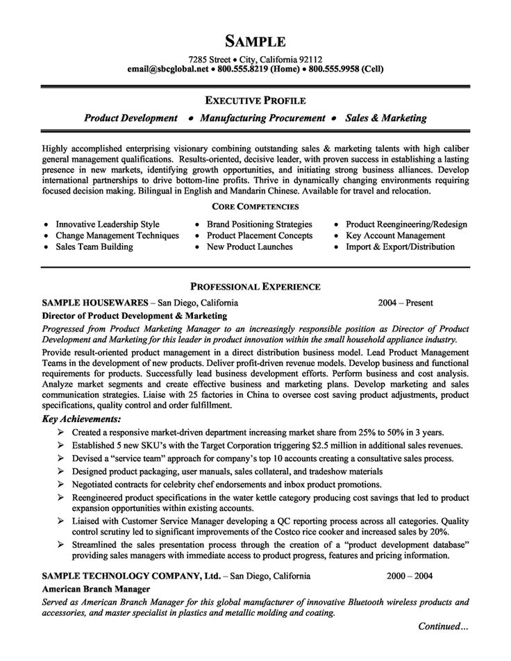 Product Management And Marketing Executive Resume Example
