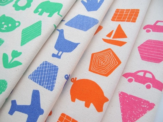 Childrens Fabric - handprinted on Organic Cotton