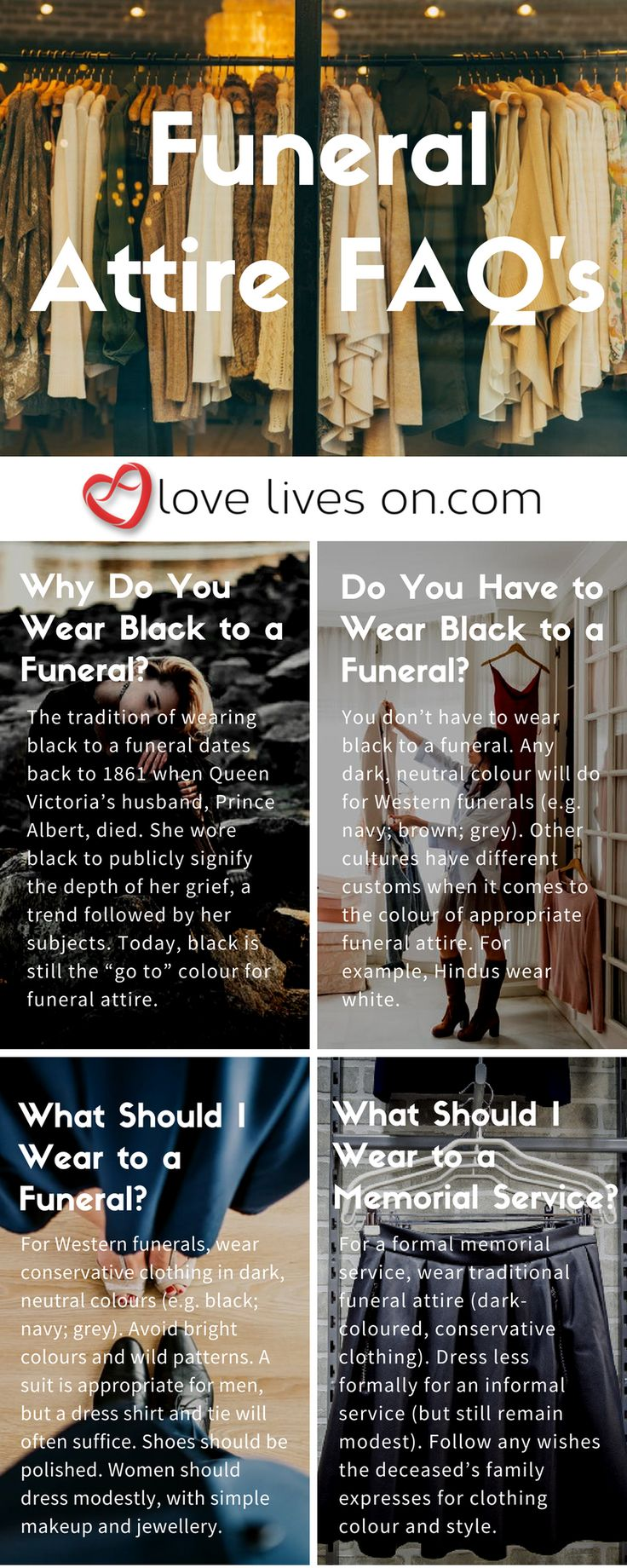 Infographic answering 4 frequently asked questions about funeral attire.