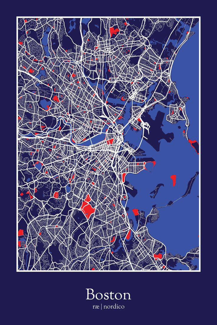 Boston USA Map Print 388 best Boston