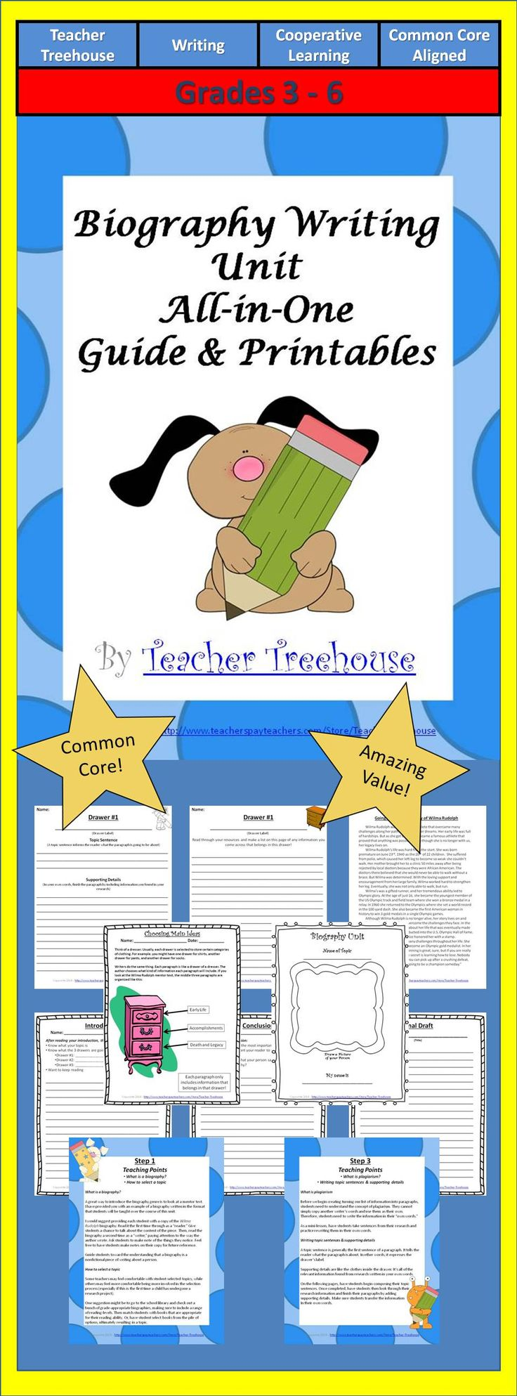 This product provides you with both a step-by-step guide and all accompanying printables to teach your students how to write biographies. Each step of the process I provide you with key teaching points and the printable materials specifically designed to guide your students through the process.   Your students will learn: - What a biography is - How to select a topic - How to find sources - What to look for - Main Ideas, Topic Sentences & Supporting Details - Etc.