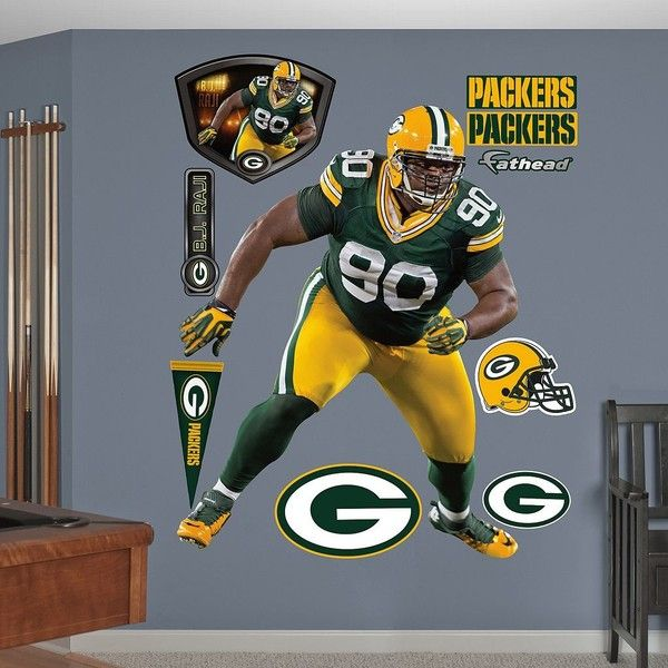 Fathead Green Bay Packers B.J. Raji Wall Decals ($100) ❤ Liked On Polyvore  Featuring