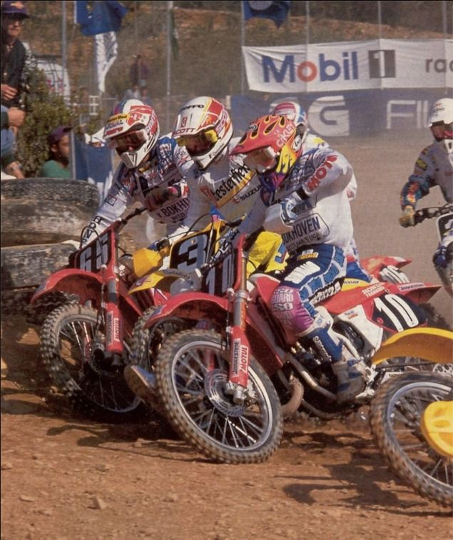 1992 GP 125cc Portugal. Strijbos (65), Tragter (3) and eventual champion Albertyn (10)