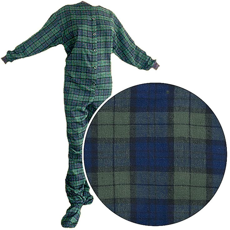 Big Feet PJs Green Plaid Flannel Footed Pajamas for Women and Men - These fun flannel footed pajamas for men are a fabulous green and blue printed plaid.  If you want a matching pair and want something that is super comfy, check out these blue and green plaid footed pajamas made by Big Feet PJs.