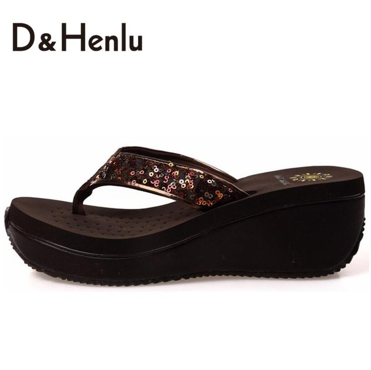 {D&H}Summer Glitter PU Wedge Flip Flops Women Platform Wedge Flip Flops High Heel Holiday Beach Sandals Shoes Woman KQB023