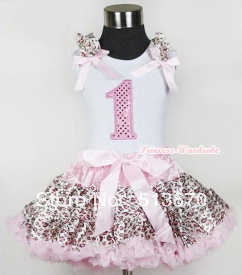 Белой майке 1-й искра светло-розовый на день рождения номер с светло-розовый леопард узор-оборками-лук-женщины светло-розовый леопард юбка MAMG439