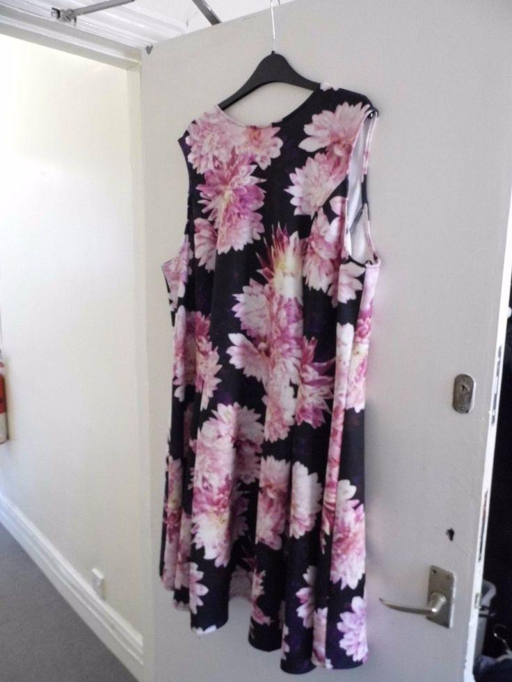 Evans (BNWOT) size:24 pink/black/multi floral design sleeveless dress | eBay