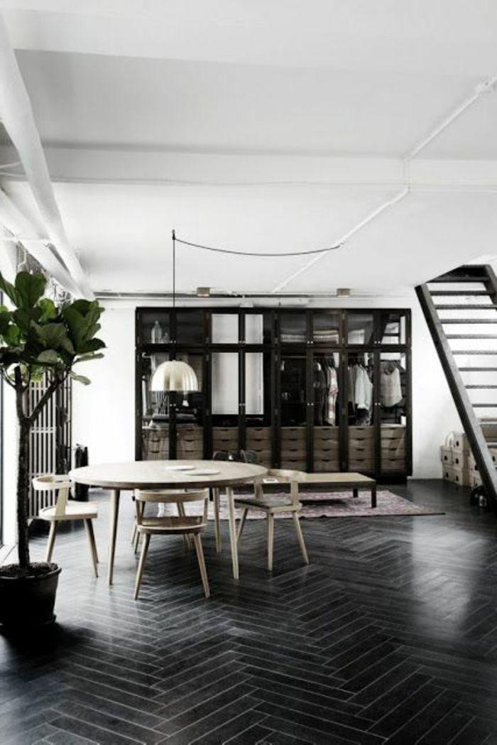 salle de sejour avec parquet noir et plante verte d'intérieur