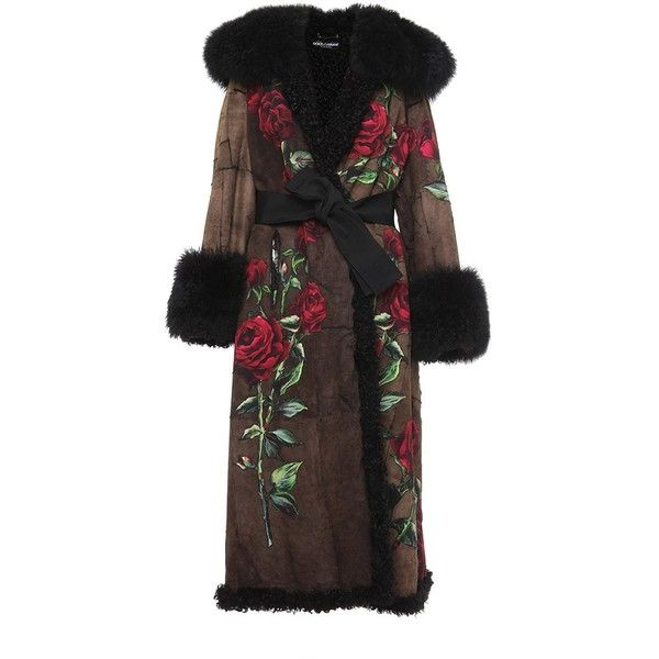 Dolce & Gabbana Shearling Coat With Rose Cady Applique (£26,600) ❤ liked on Polyvore featuring outerwear, coats, dolce & gabbana, black multi, shearling coat, dolce gabbana coat and sheep fur coat