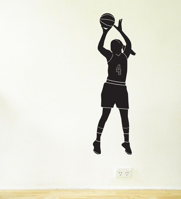 Female Basketball Player Wall Sticker. This removable decal is great for kids rooms.    #basketball #wallsticker #decals #decorideas