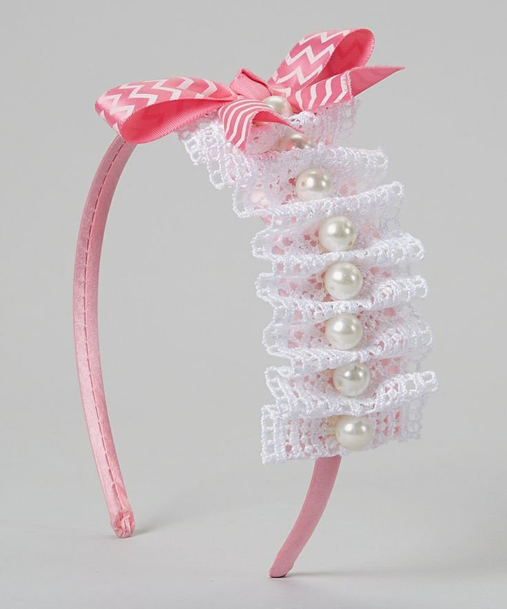 White & Pink Lace Ruffle Pearl Bow Headband | Daily deals for moms, babies and kids
