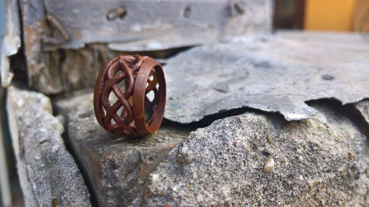 Natural Hand Carved Macadamia ring, Unique Gifts for her, Excellent Triple Plaited Design Fretwork Jewelry