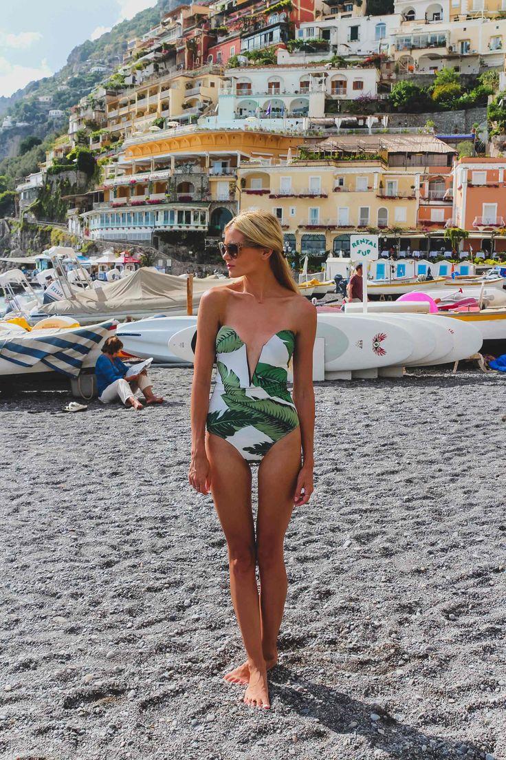 Barefoot Blonde by Amber Fillerup Clark  | Beach Riot palm one-piece