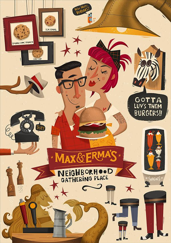 https://www.behance.net/gallery/17078569/Max-Ermas-Illustrated-Menu-Cover by Peter Donnelly