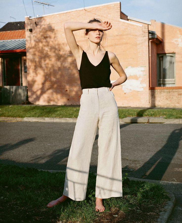 wide leg linen pants, black camisoles.