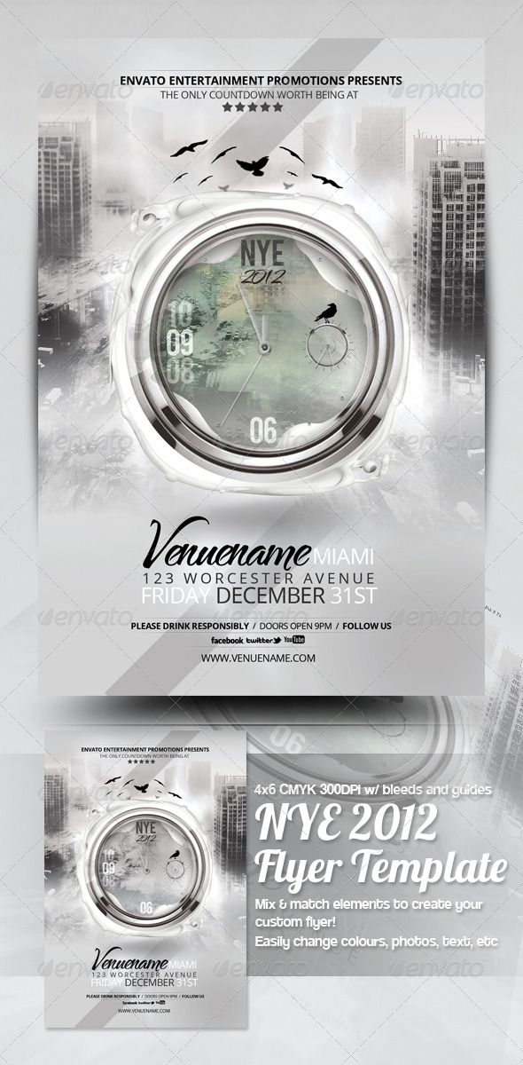 Apocalypse NYE 2014 Flyer Template  #GraphicRiver         An Apocalyptic New Year Party Flyer well suited to any event! Features  4×6, CMYK , 300dpi, PRINT READY !  Includes bleed, trim and guidelines  Easily editable text, colours and images (extra preset layers included, simply unhide to achieve new results)  Details on modifying the file are included in the help file  Pack Includes  1 main PSD file  HTML help file w/ font documentation and download links  Fonts  Bebas, TheNautiGal…