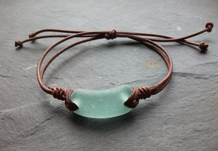 Aqua Sea Glass Bracelet - Seaglass Leather - Surfers-Beachwear- Scottish Seaglass-Leather Bracelet. $12.00, via Etsy.