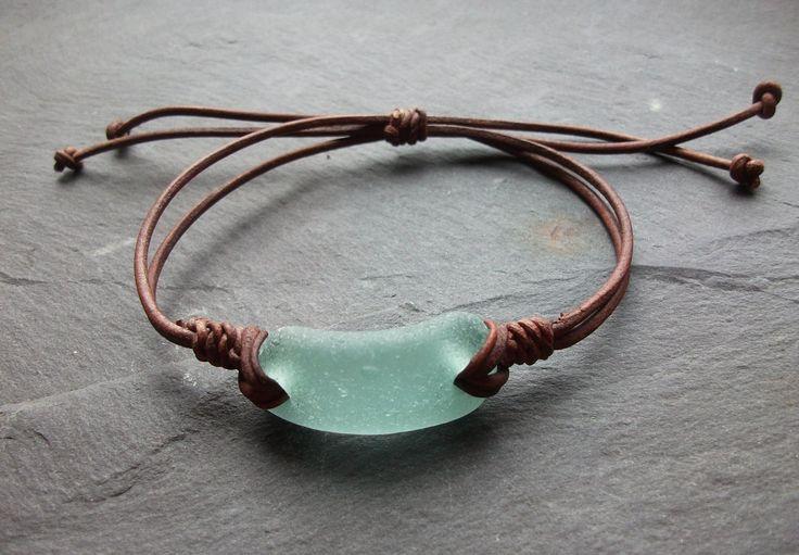 Aqua Sea Glass  Bracelet - Seaglass Leather  - Surfers-Beachwear- Scottish Seaglass-Leather Bracelet. $12.00, via Etsy.