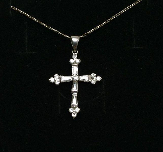Vintage Anhänger - Kristallkreuz Kreuzanhänger 925 Silberkreuz SK463 - ein Designerstück von Atelier-Regina bei DaWanda