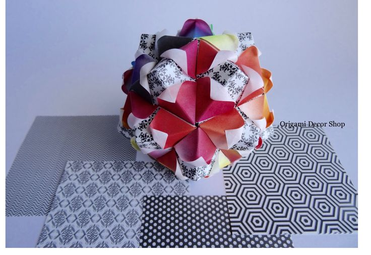 Origami flower ball made by colour fade Origami paper and black, white pattern Origami paper