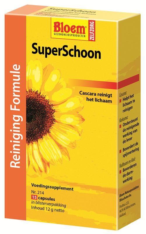 Bloem Natuurproducten SuperSchoon 15 capsules - SuperSchoon bevat naast een aantal kruidenextracten ook het probioticum Lactospore. Vuilboom-bast en Alo� zijn natuurlijke darmprikkelaars. Werkzame ingredi�nten SuperSchoon: * Cascara, helpt het lichaam te reinigen (prikkelt de darmen) * Kurkuma, ondersteunt de reinigende werking van de lever