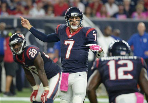 Houston Texans' Brian Hoyer (7) callas a play after he replaced injured teammate Ryan Mallett during the first half of an NFL football game against the Indianapolis Colts, Thursday, Oct. 8, 2015, in Houston.  - (AP Photo/George Bridges)