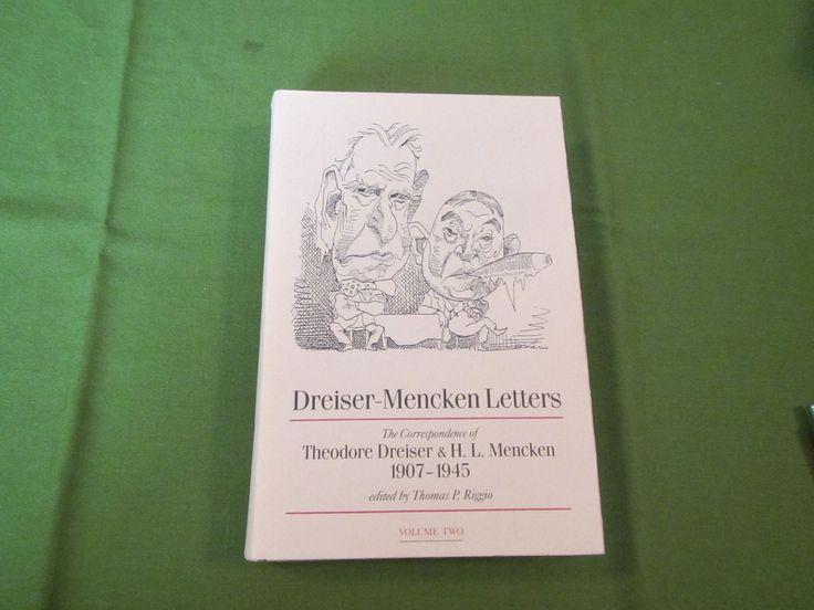 1985 ** Dreiser-Mencken Letters: The Correspondence of Theodore Dreiser & H.L. Mencken 1907-1945 Vol. 2 ** Thomas P. Riggio  ** sj by theadlibrary on Etsy