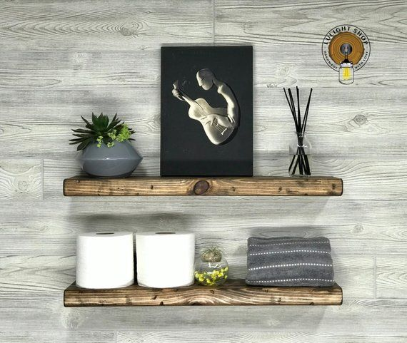 Rustic Distressed 5 5 Deep Floating Shelf Picture Ledge Etsy Floating Shelves Wooden Shelves Shelves