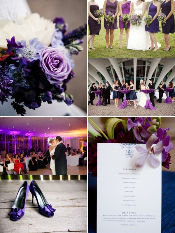 My wedding colors: purple, navy blue, and silver: These colors will go really good with his Dress Blues!:)