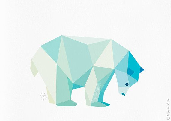 Arctic polar bear. •• THIS IS A quality inkjet print of my original geometric design. •• JUST ONE This geometric print is just one in a