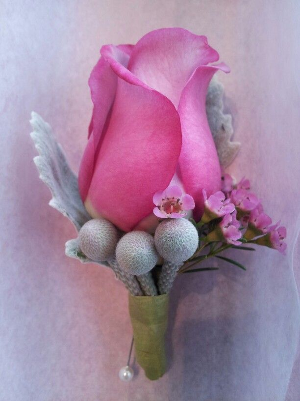 Lavender and silver boutonniere