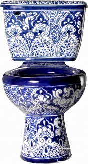 Blue & White Mexican Talavera Porcelain Toilet