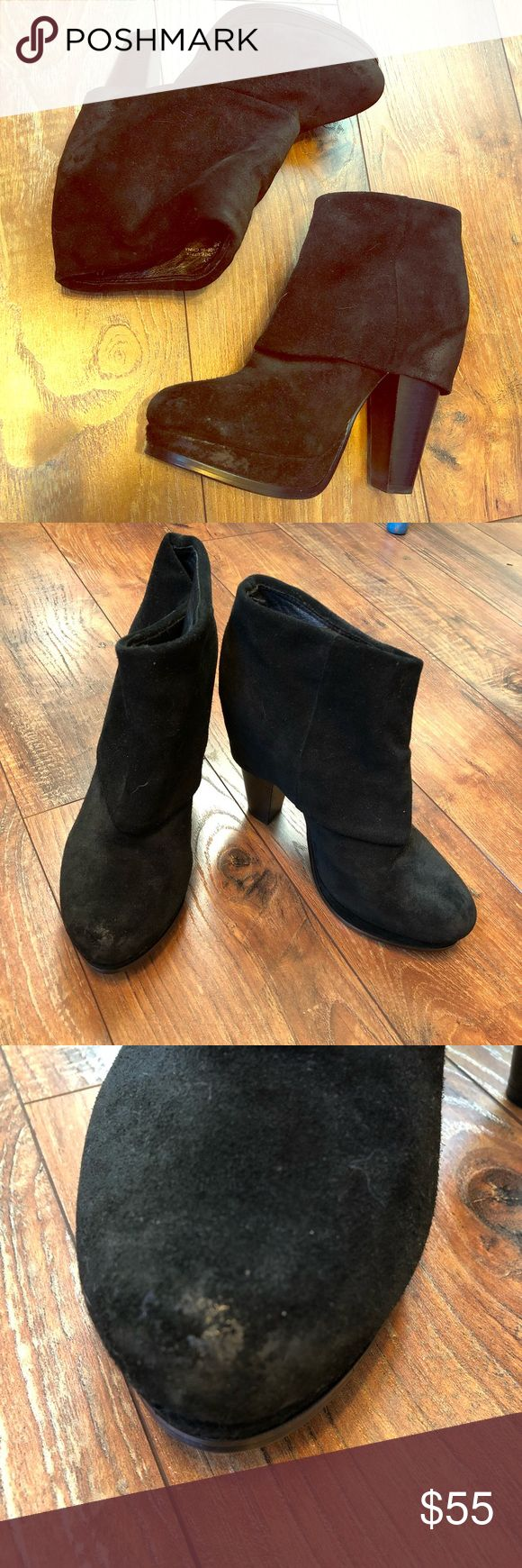 Ash distressed black suede fold over booties Ash distressed black suede fold over booties size 8 (38). No box. Suede is supposed to look distressed. Heel is 4.5 inches, platform is about 1 inch. Excellent condition Ash Shoes Ankle Boots & Booties