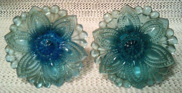Curtains •~• vintage aqua/teal/turquoise tiebacks