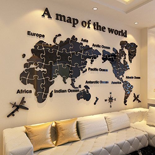 $59.99 - amydream world map acrylic 3d wall sticker,wall decoration